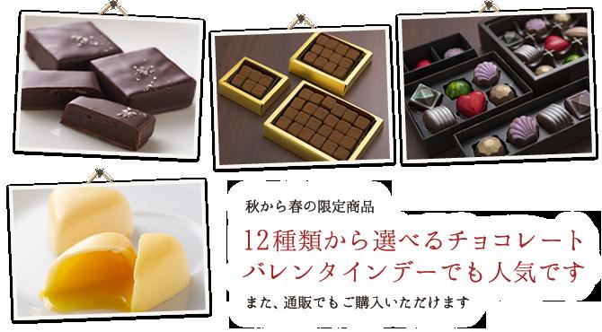 秋から春の限定商品 12種類から選べるチョコレートバレンタインデーでも人気です また、通販でもご購入いただけます
